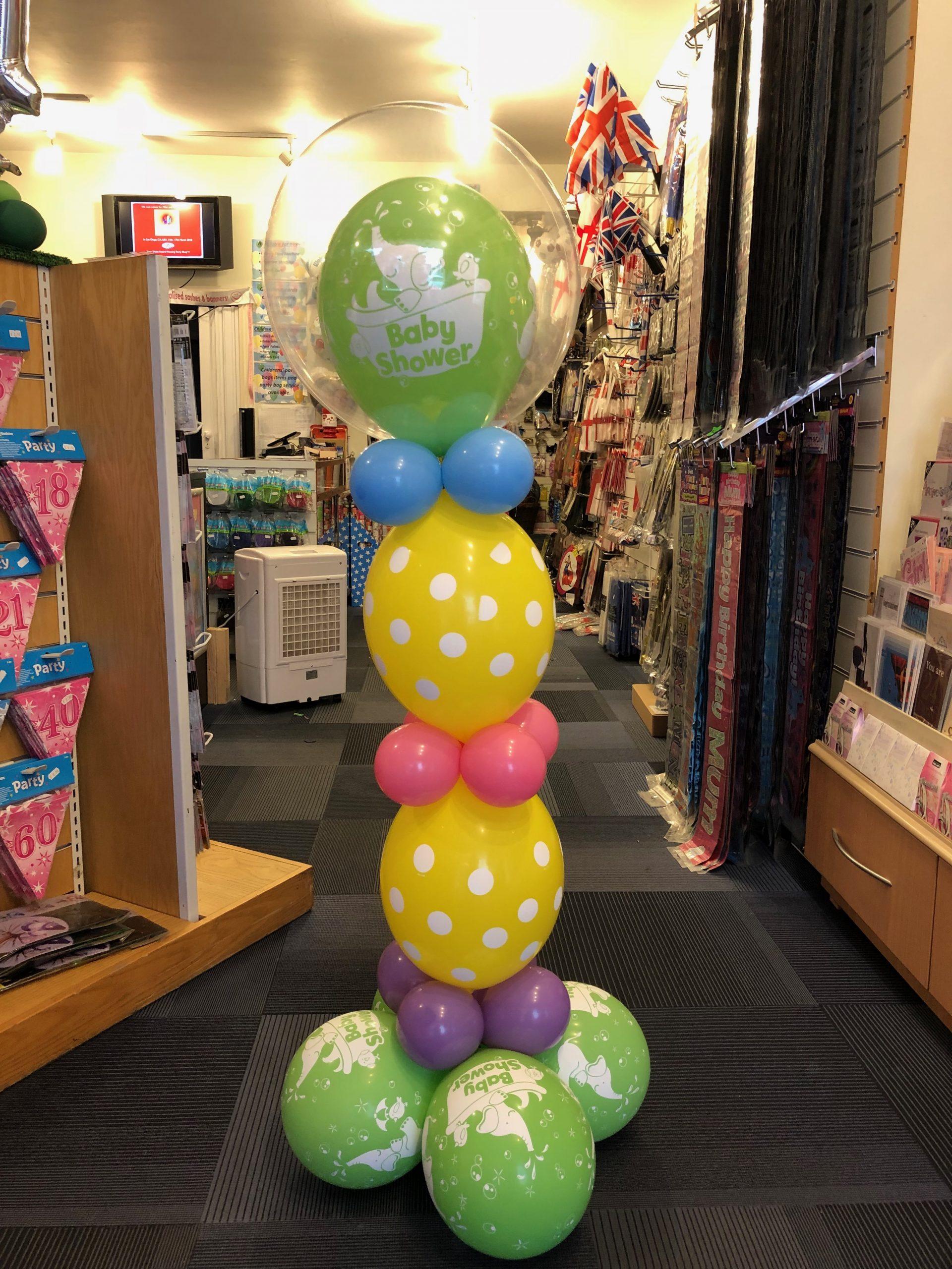 Deco bubble baby shower balloon column